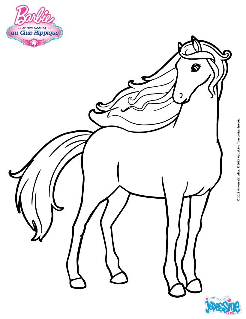Coloriages Le Cheval De Barbie - Fr.hellokids avec Dessin De Cheval A Colorier