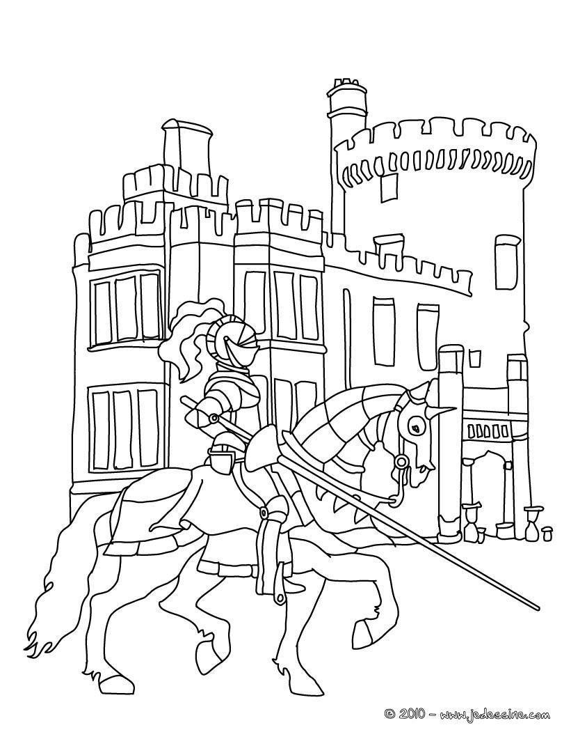 Coloriages Le Chevalier Arrive Au Chateau - Fr.hellokids avec Image De Chateau Fort A Imprimer