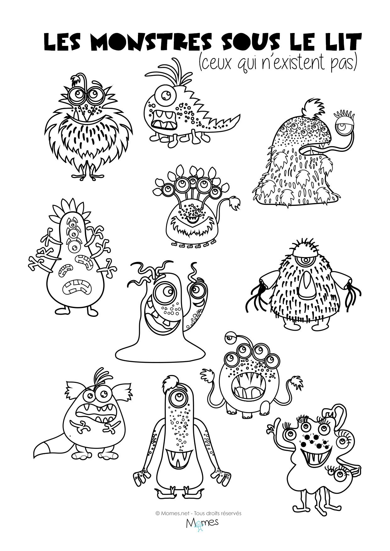 Coloriages : Les Monstres Sous Le Lit - Momes à Jeux Educatif 4 Ans A Imprimer