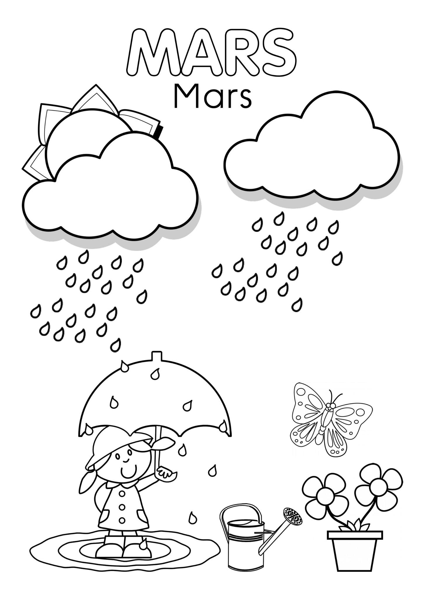 Coloriages Mars - Assistante Maternelle Argenteuil - Orgemont intérieur Mois À Colorier Maternelle