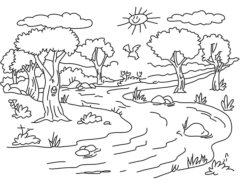 Coloriages Nature. Paysage, Forêt, Montagne, Mer, Île intérieur Dessin Printemps Paysage