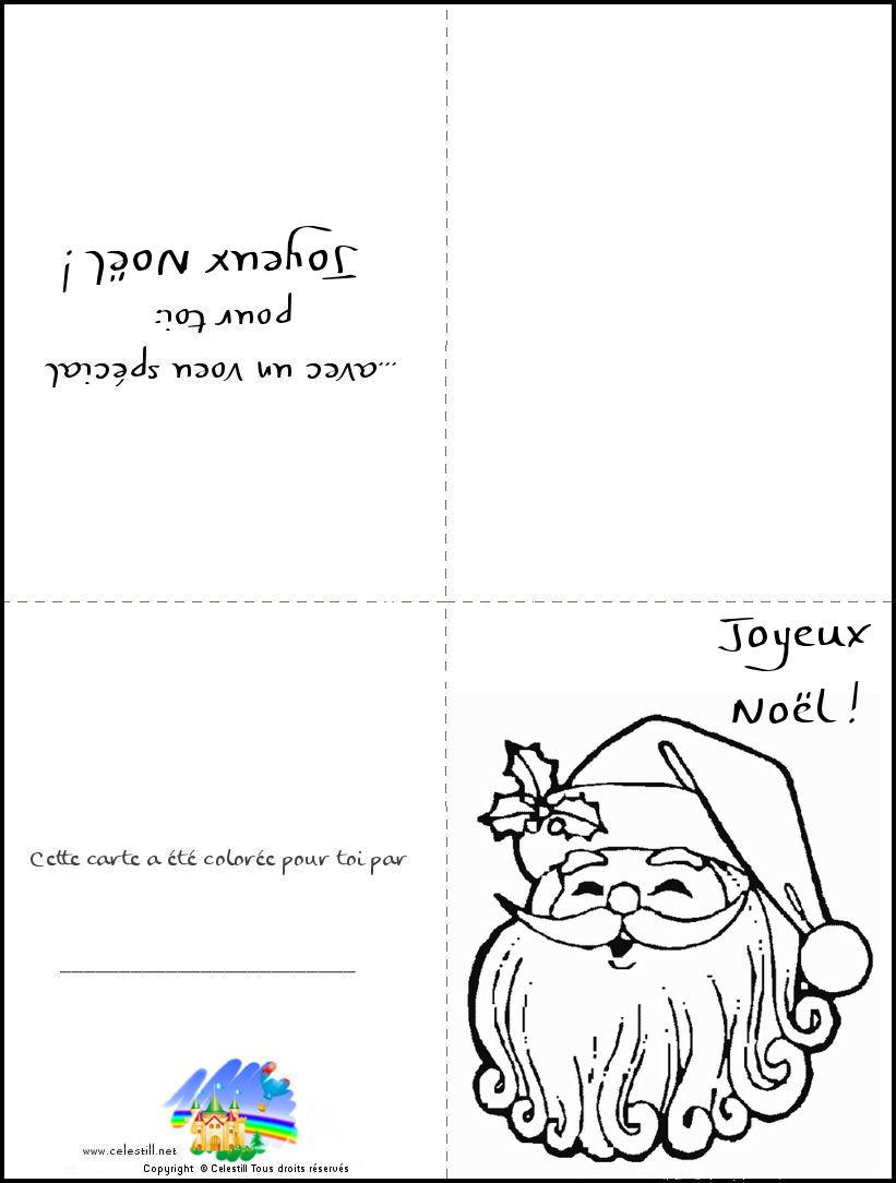 Coloriages Noël - Carte À Imprimer Et À Colorier Père Noël encequiconcerne Carte Joyeux Noel À Imprimer