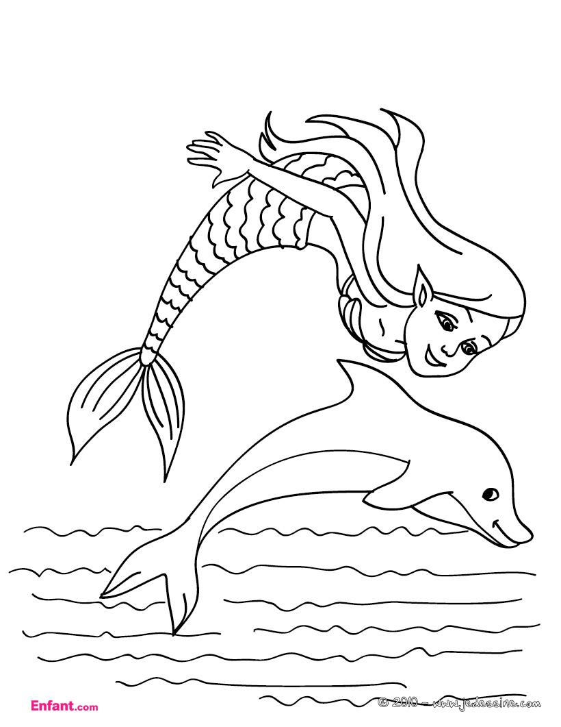 Coloriages Pour Fille: La Sirène Et Le Dauphin à Dessin De Dauphin À Colorier