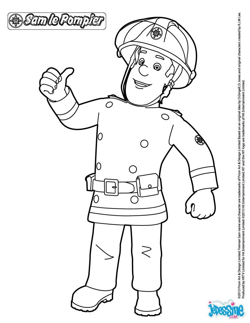 Coloriages Sam Le Pompier À Imprimer - Fr.hellokids destiné Dessin De Pompier À Imprimer