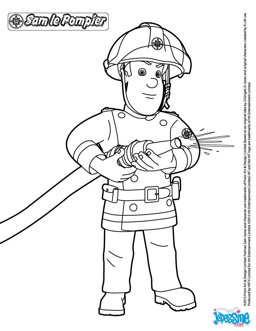 Coloriages Sam Le Pompier - Fr.hellokids destiné Coloriage Pompier A Imprimer Gratuit