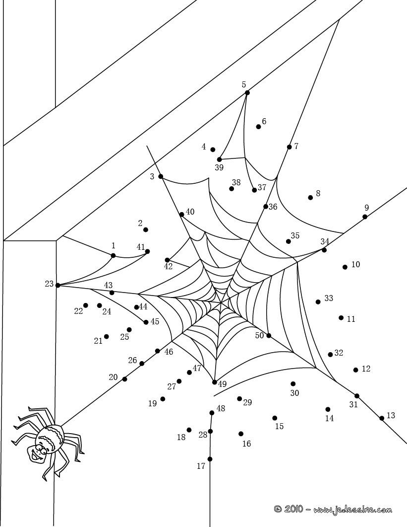 Coloriages Toile D'araignée D'halloween - Fr.hellokids dedans Dessin Toile Araignée