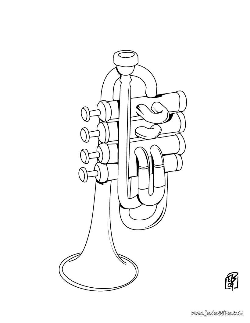 Coloriages Trompette - Fr.hellokids destiné Trompette À Colorier