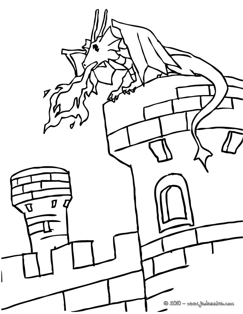 Coloriages Un Dragon Sur Un Chateau Fort - Fr.hellokids avec Image De Chateau Fort A Imprimer