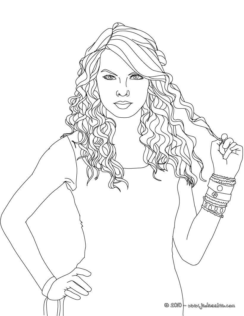 Coloriages Visage Taylor Swift À Colorier - Fr.hellokids dedans Visage À Colorier