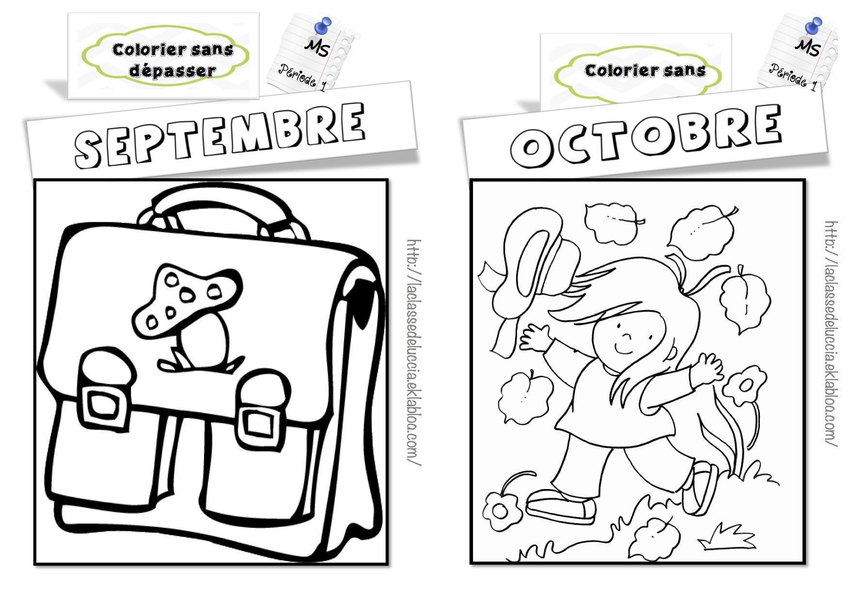 Colorier Sans Dépasser Ms - La Classe De Luccia ! concernant Mois À Colorier Maternelle