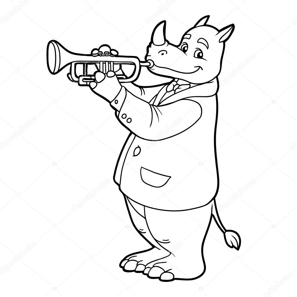 Coloring Book For Children: Rhino And Trumpet — Stock Vector encequiconcerne Trompette À Colorier