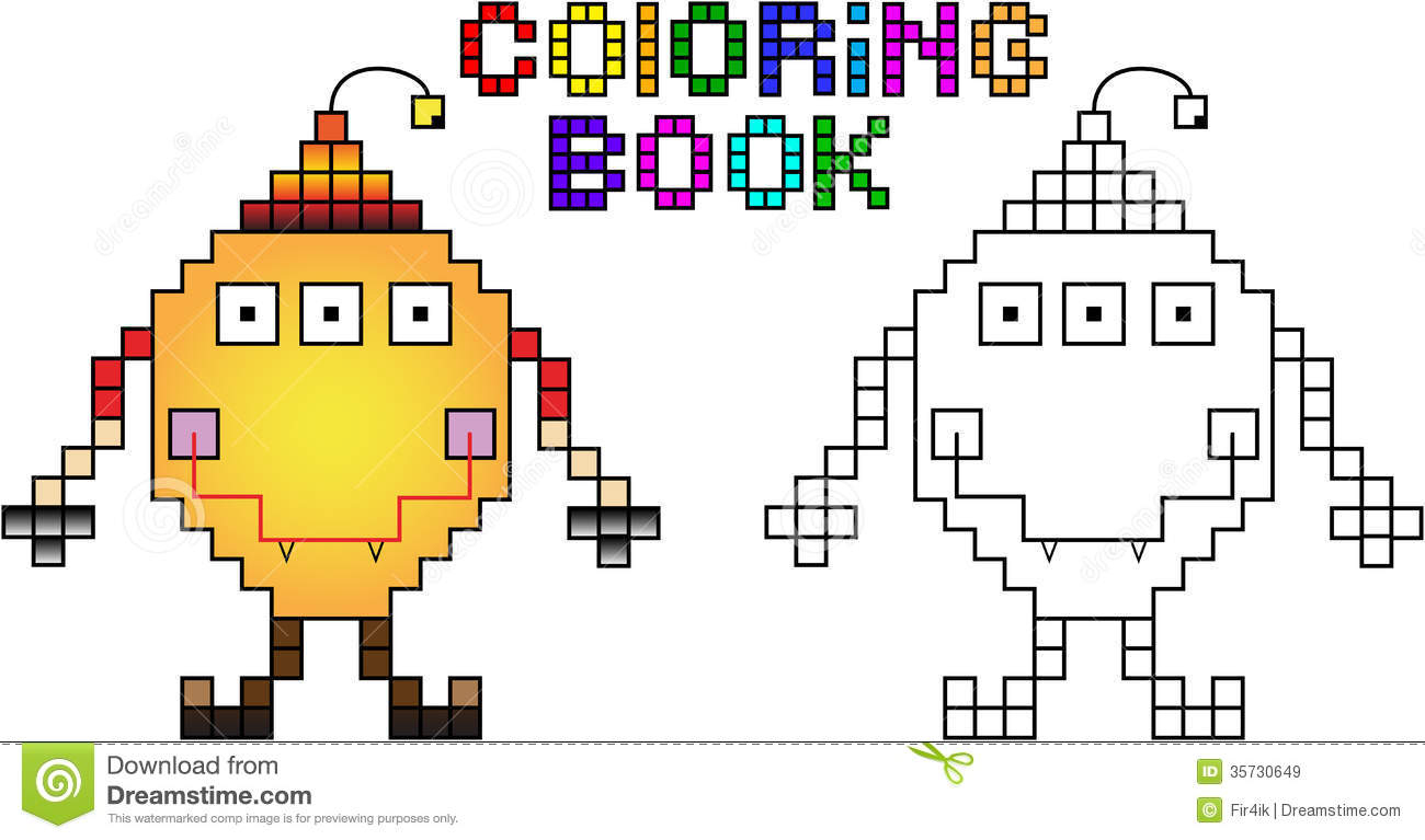 Coloring Book Pixel Monster First Stock Vector encequiconcerne Pixel A Colorier