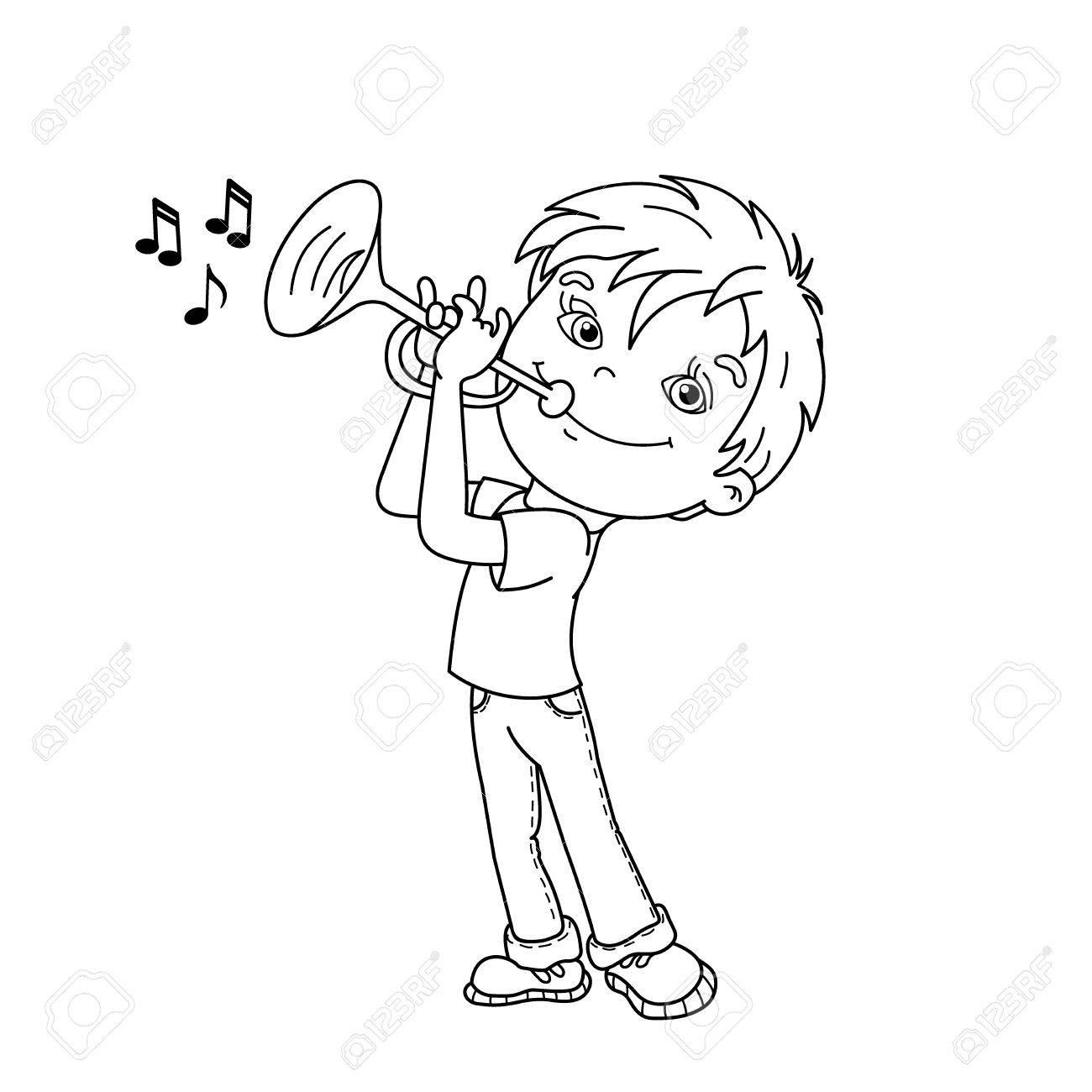 Coloring Page Outline Of Cartoon Garçon Jouant De La Trompette. Instruments  De Musique. Livre À Colorier Pour Les Enfants à Trompette À Colorier