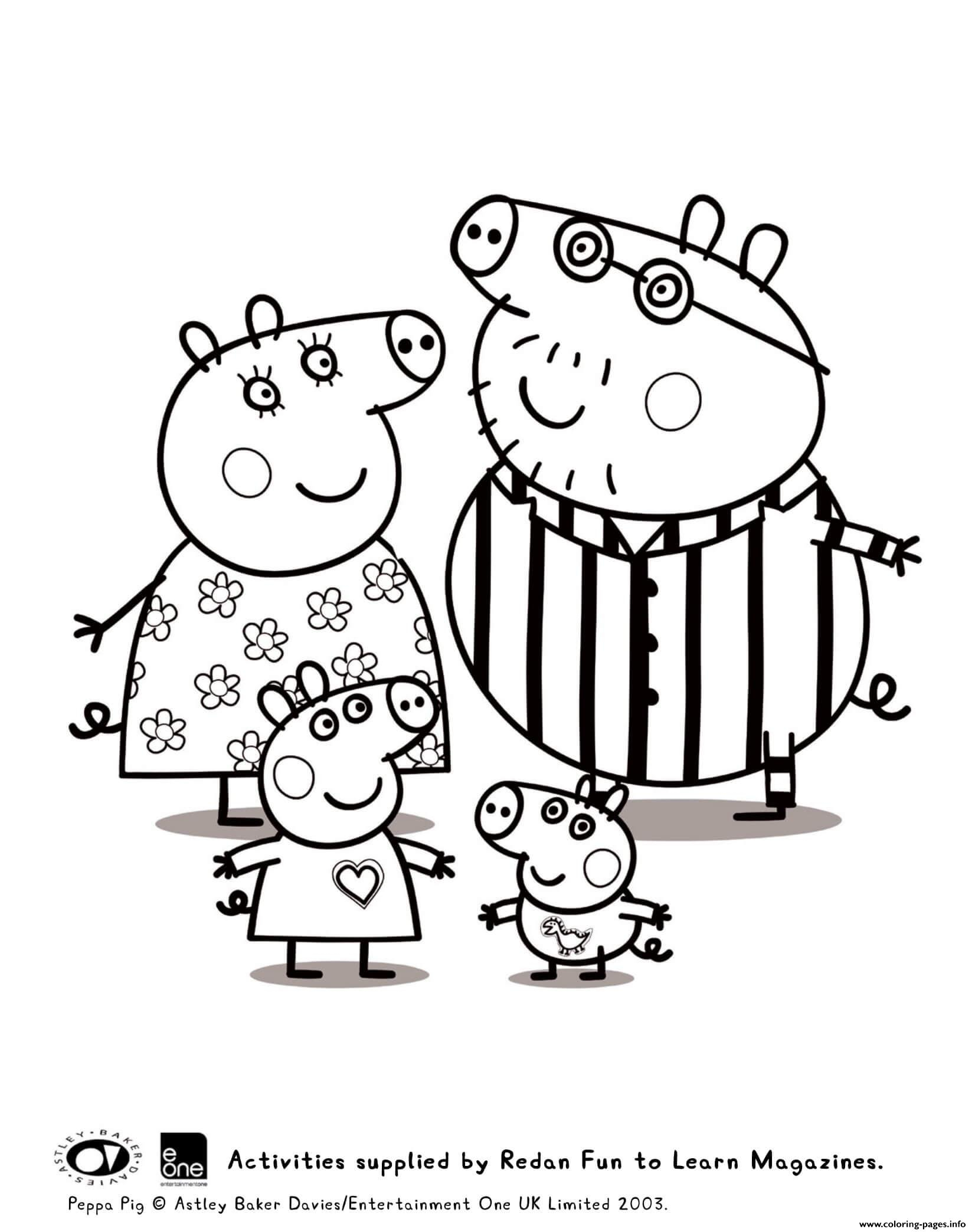 Coloring Pages : Coloring Peppa And Family Pyjama Pig intérieur Peppa Pig A Colorier