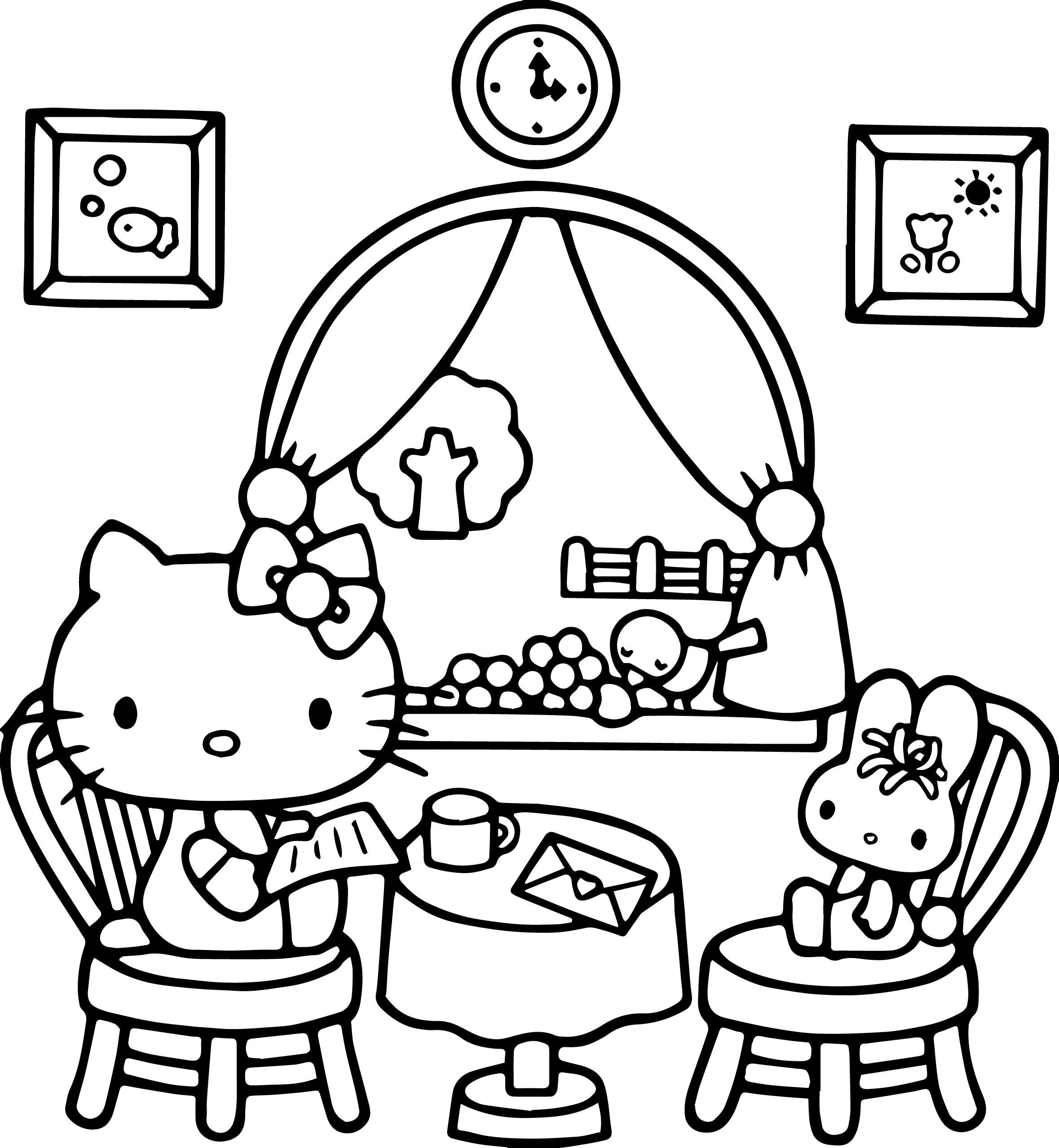 Coloring Pages : Hello Kitty At Home Play Bear Coloring intérieur Hello Kitty À Dessiner