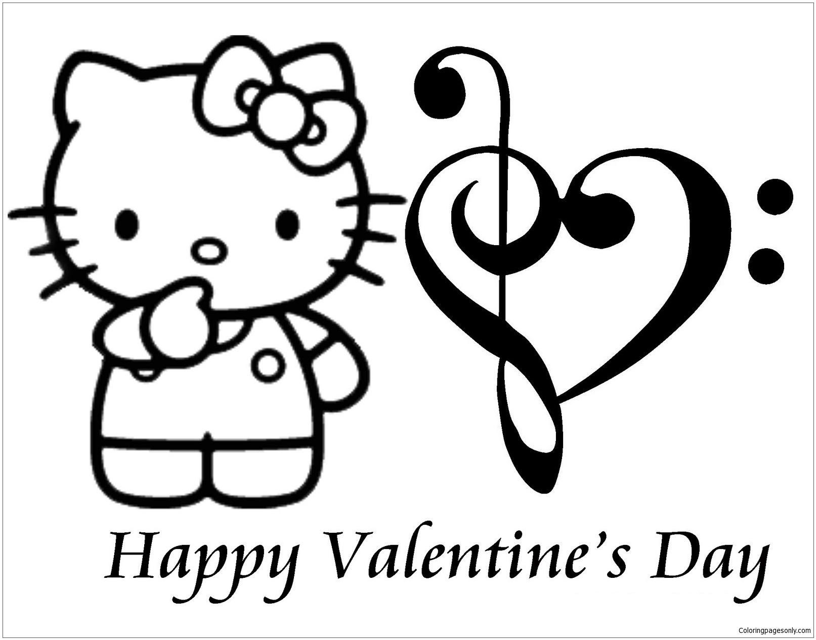 Coloring Pages : Hello Kitty Valentine Coloring Free Baby serapportantà Hello Kitty À Dessiner