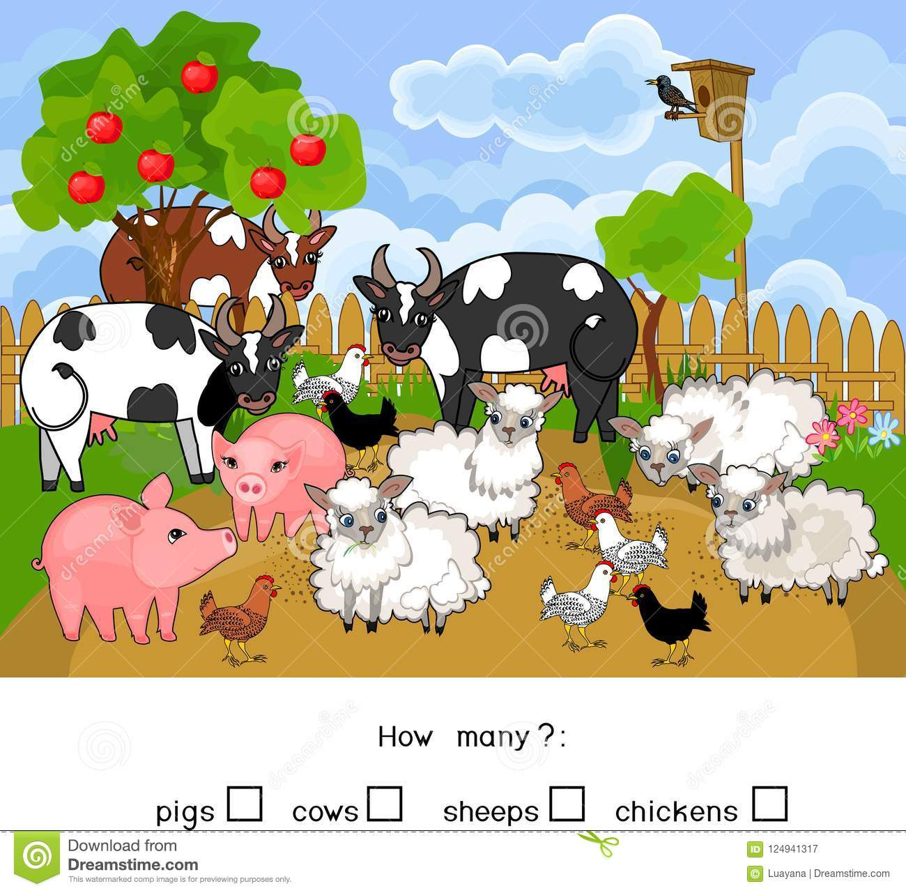 Combien D'animaux Compte Du Jeu Éducatif Avec Différents destiné Jeux D Animaux De La Ferme