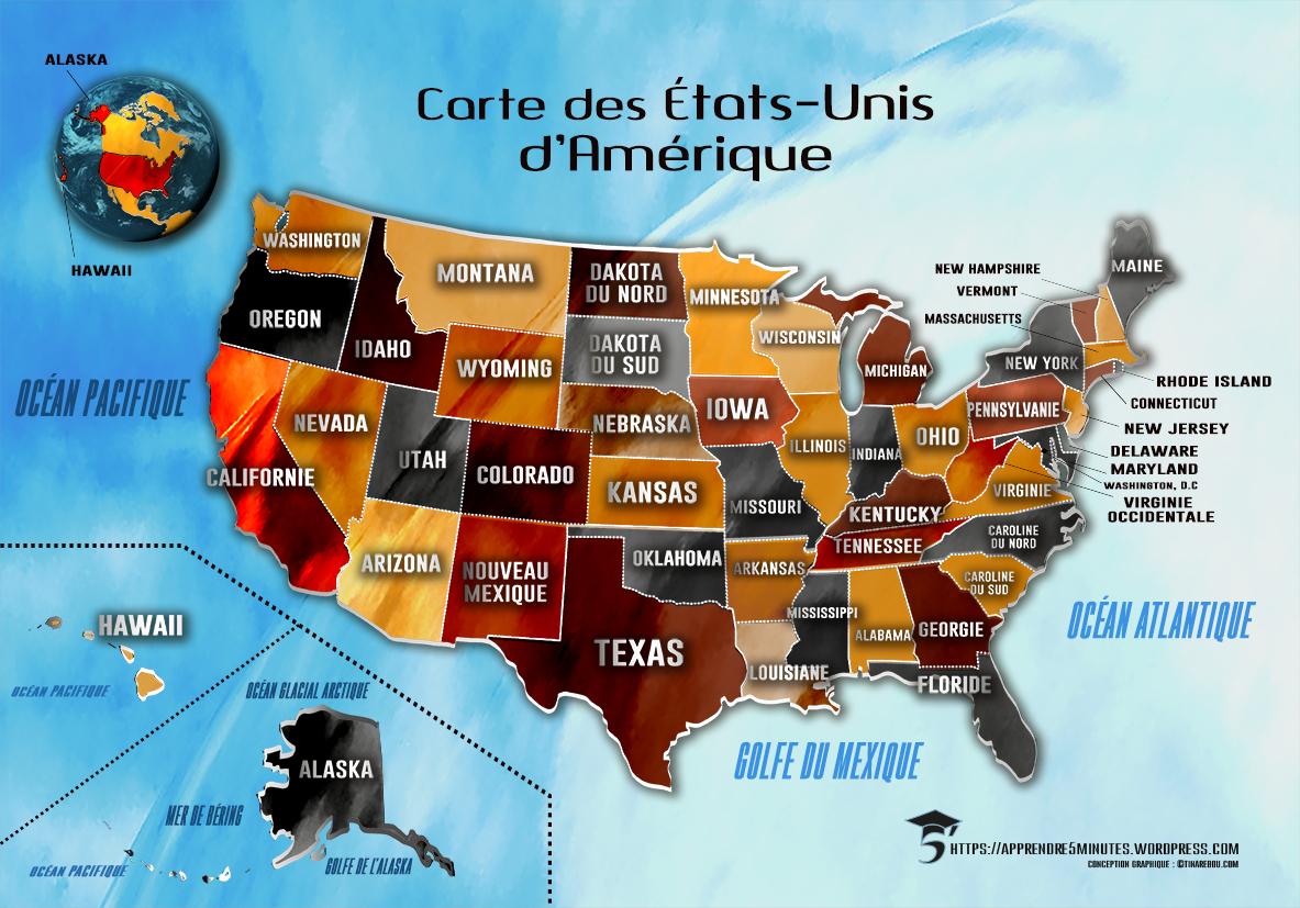 Comment Apprendre Les 50 États Des États-Unis Rapidement Et à Carte Etat Amerique