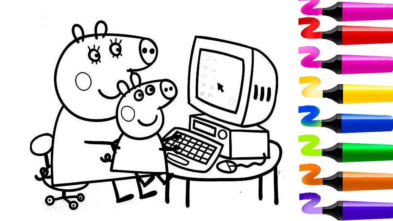 Comment Colorier Peppa Pig Et Sa Maman Sur L'ordinateur tout Peppa Pig A Colorier