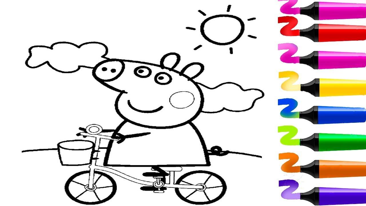 Comment Colorier Peppa Pig Qui Fait Du Vélo! Coloriage Pour à Peppa Pig A Colorier