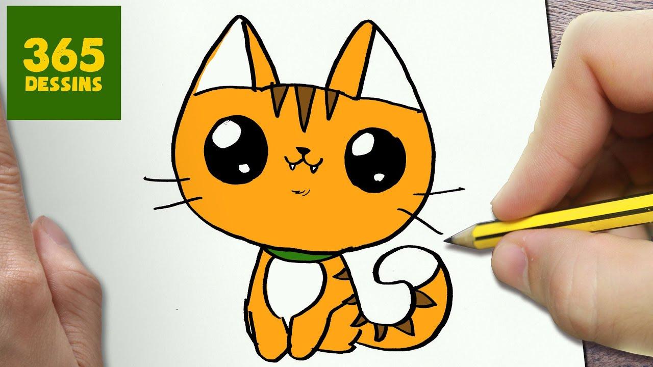 Comment Dessiner Chat Kawaii Étape Par Étape – Dessins Kawaii Facile intérieur Modèles De Dessins À Reproduire