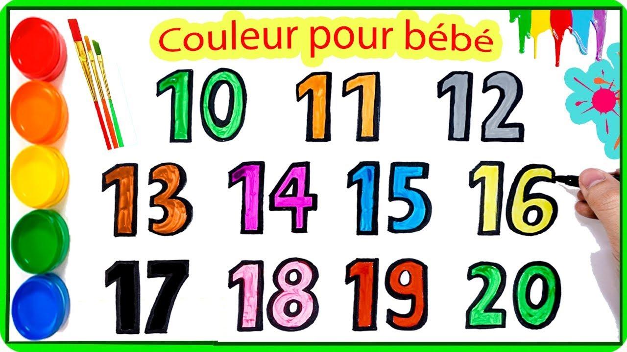 Comment Dessiner Et Colorier Les Chiffres 10-20 | Apprendre Les Couleurs Et  Les Chiffres En Français dedans Coloriage Chiffres 1 À 10