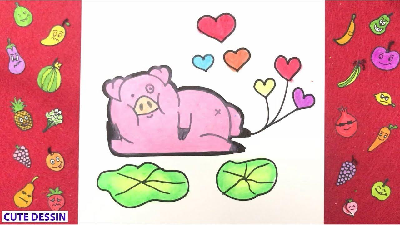 Comment Dessiner Et Colorier Un Cochon Mignon Facilement Étape Par Étape 6  – Dessin Cochon pour Dessin A Colorier Cochon