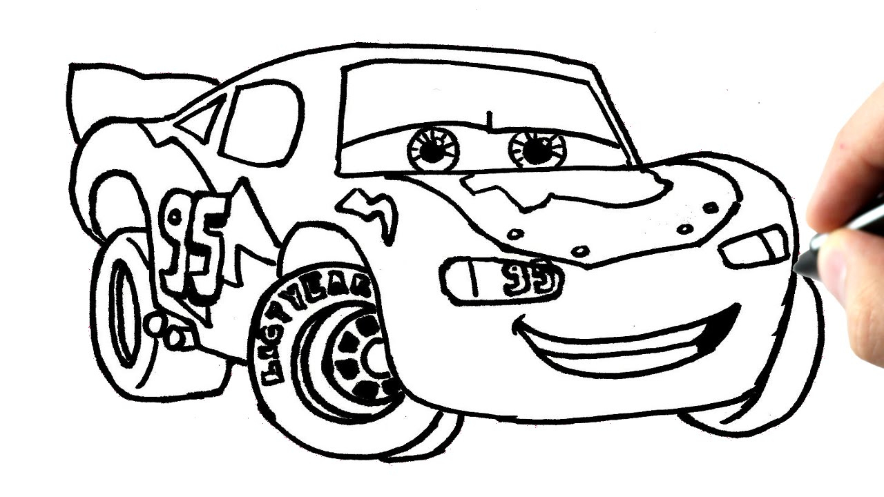 Comment Dessiner Flash Mcqueen (Cars) Tutoriel tout Coloriage De Flash Mcqueen