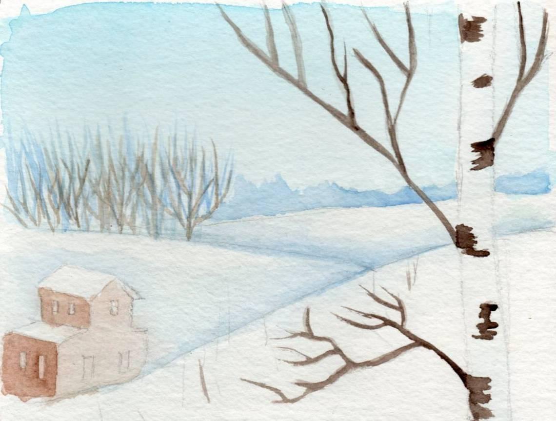 Comment Dessiner Le Paysage D`hiver | Atelier Artacadememie serapportantà Dessin De Paysage D Hiver