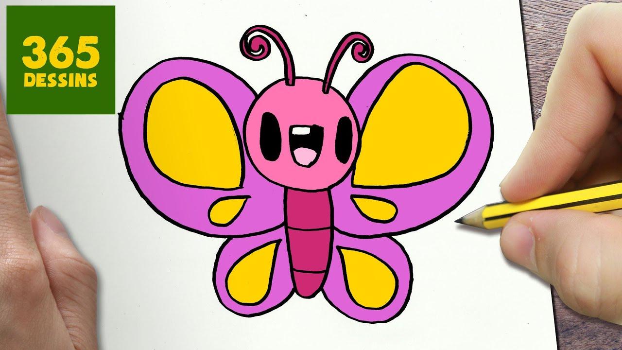 Comment Dessiner Papillon Kawaii Étape Par Étape – Dessins Kawaii Facile intérieur Papillon À Dessiner