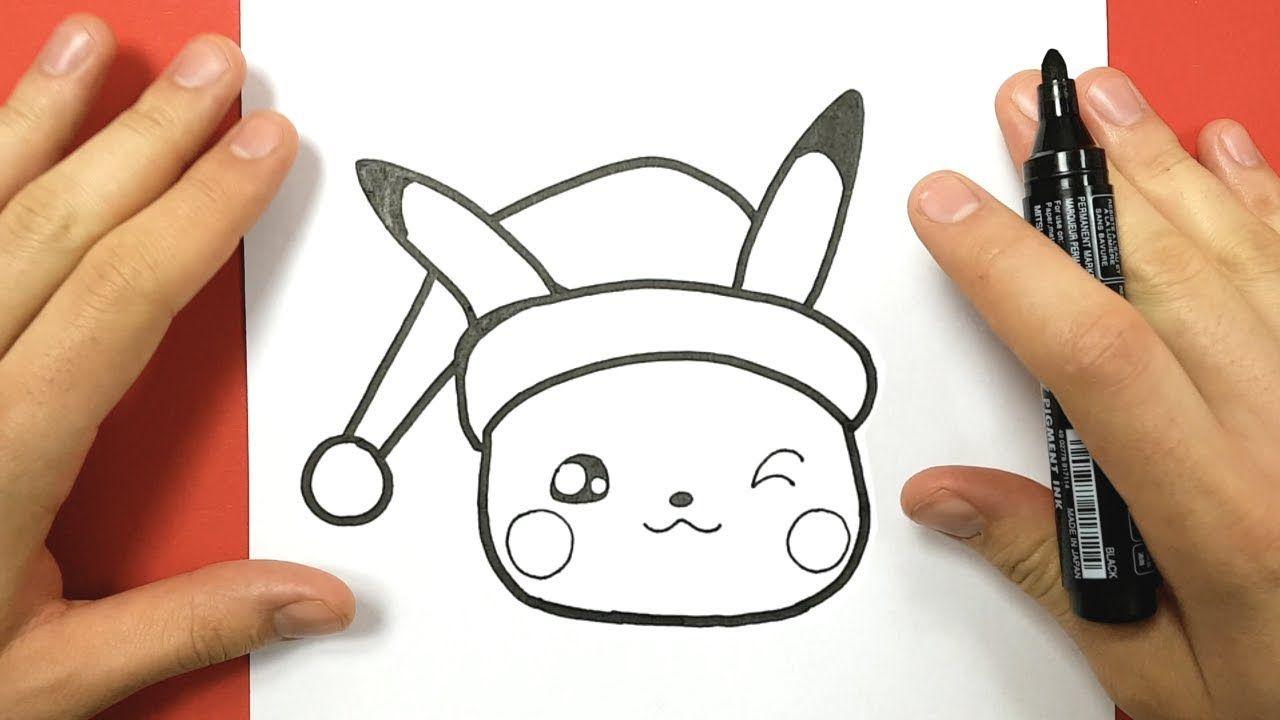 Comment Dessiner Pikachu Kawaii Pour Noël -  | Dessin pour Dessin De Pikachu Facile