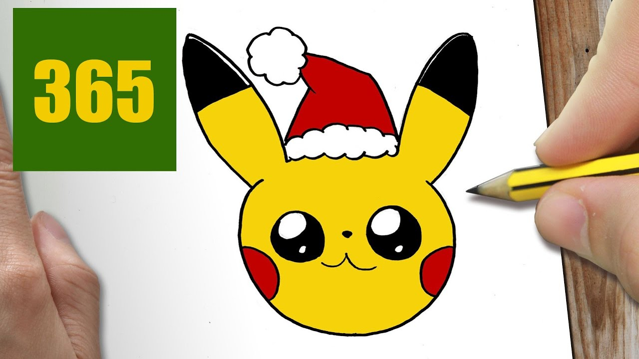 Comment Dessiner Pikachu Noël Kawaii Étape Par Étape – Dessins Kawaii Facile avec Dessin De Pikachu Facile