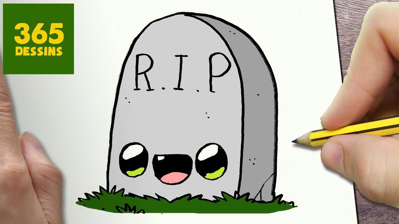 Comment Dessiner Tombe Kawaii Étape Par Étape – Dessins Kawaii Facile serapportantà Dessin D Halloween Facile A Dessiner