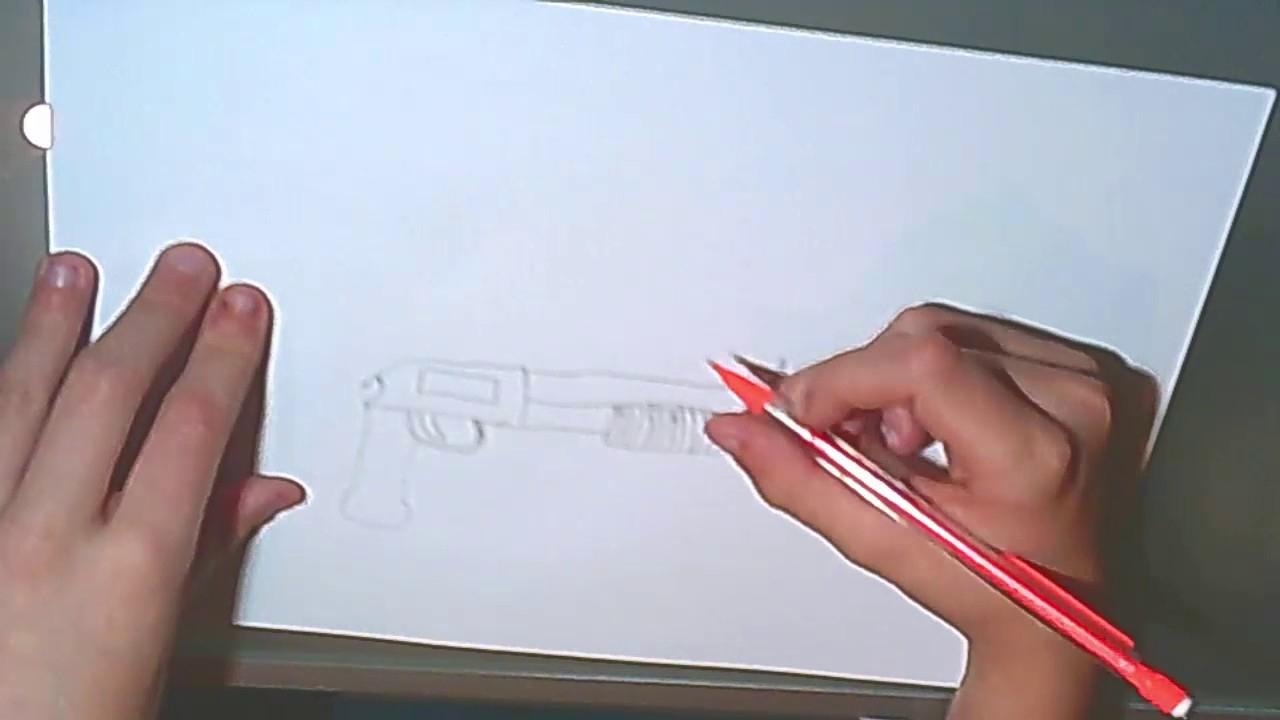 Comment Dessiner Un Fusil A Pompe Facilement ! à Comment Dessiner Un Fusil