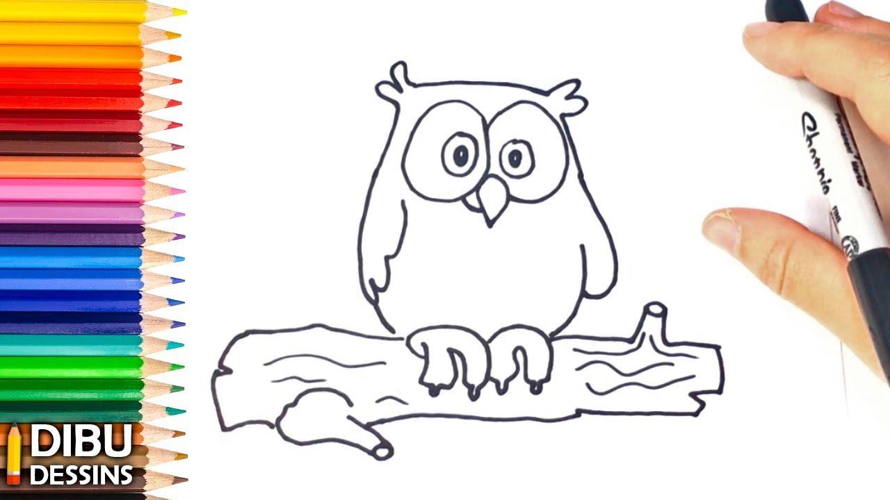 Comment Dessiner Un Hibou | Dessins Faciles serapportantà Dessin Hibou Facile