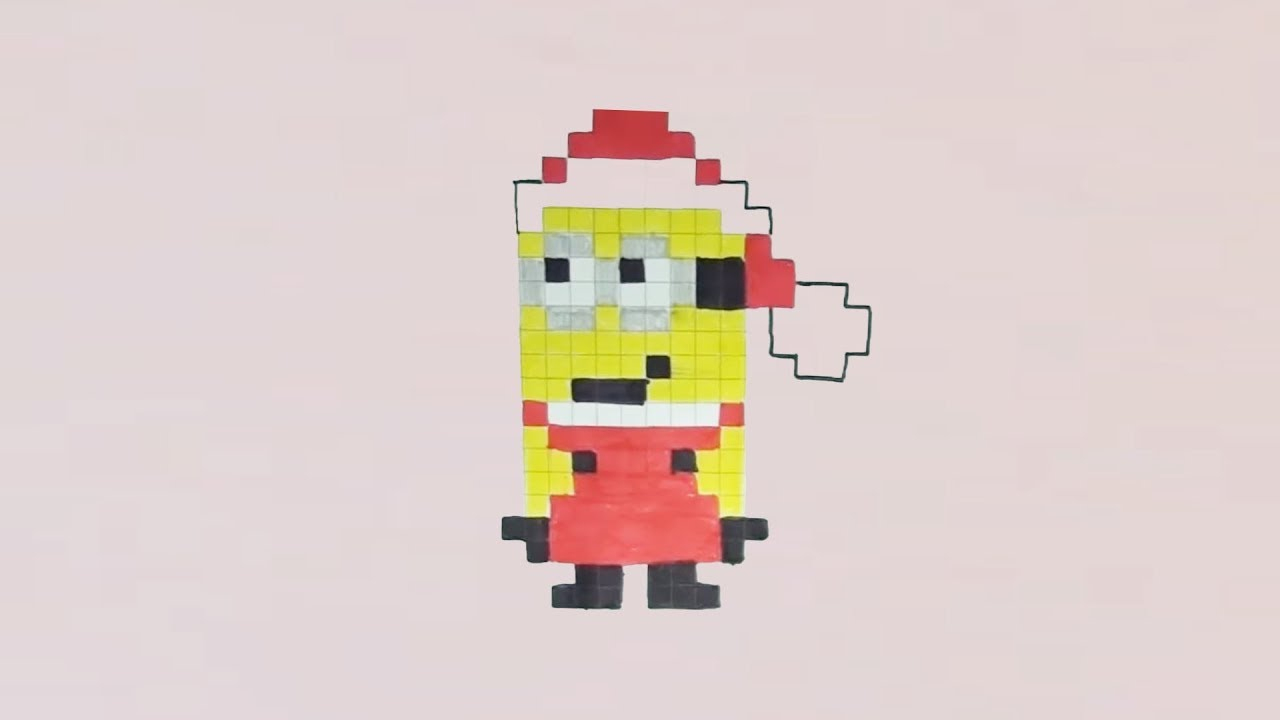 Comment Dessiner Un Minion Père Noël Pixel Art serapportantà Pixel Art De Noël