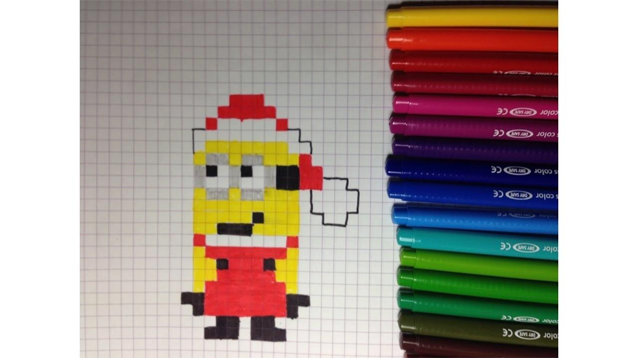 Comment Dessiner Un Minion Père Noël Pixel Art tout Pixel Art Pere Noel