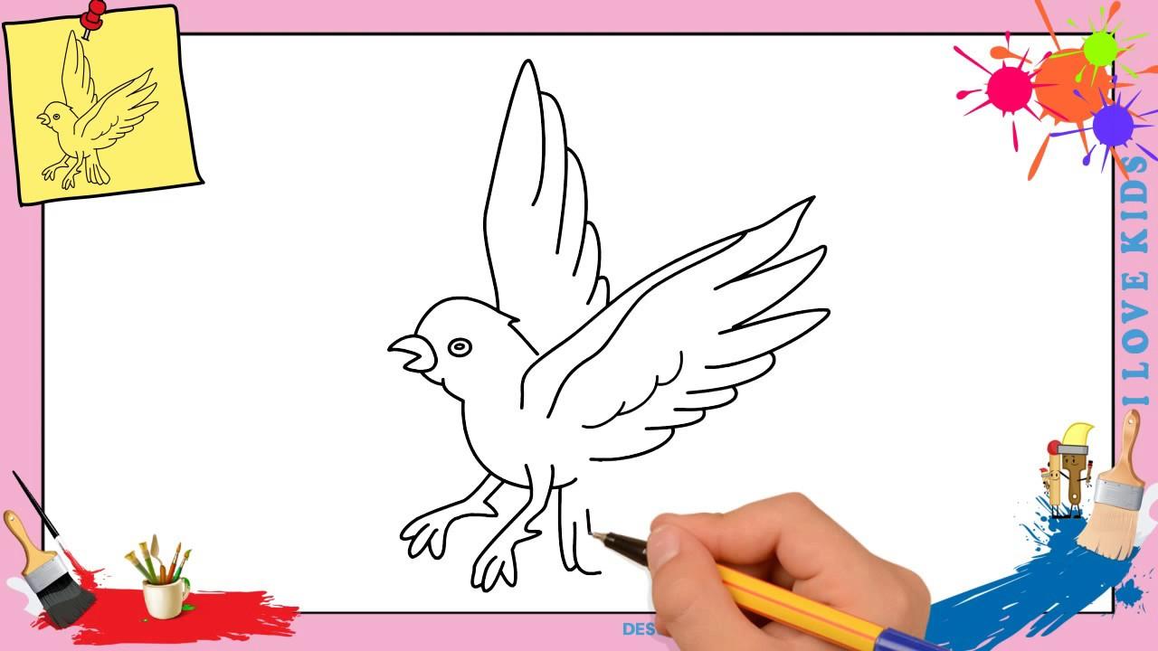 Comment Dessiner Un Oiseau Qui Vole Facilement Etape Par Etape à Dessin D Oiseau Simple