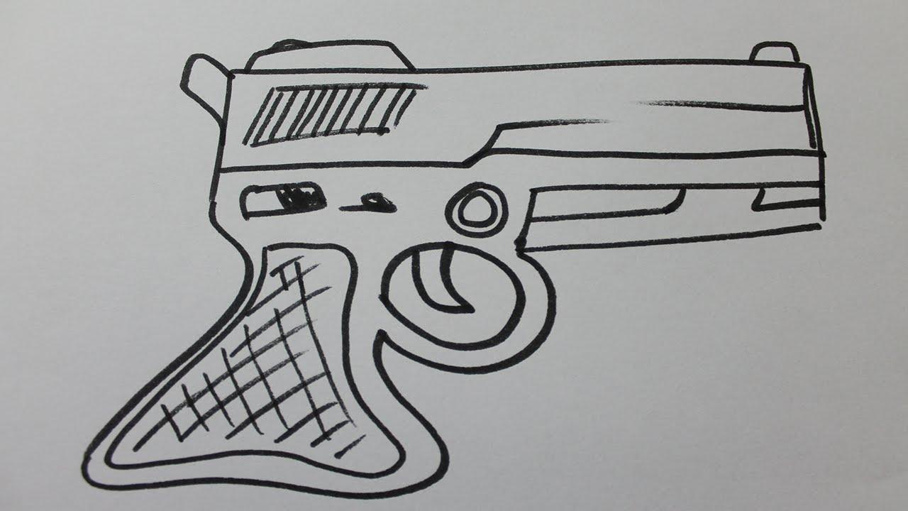 Comment Dessiner Un Pistolet Facile à Comment Dessiner Un Fusil
