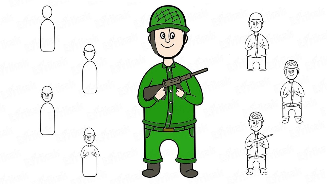 Comment Dessiner Un Soldat Avec Une Arme, Pas À Pas, Au intérieur Comment Dessiner Un Fusil