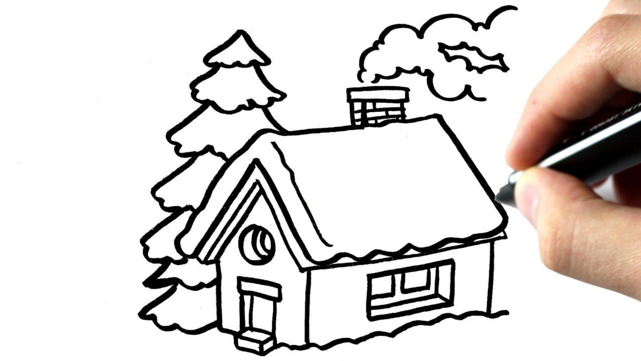 Comment Dessiner Une Maison En Hiver Tutoriel serapportantà Dessin De Paysage D Hiver