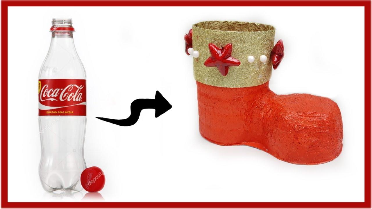 Comment Fabriquer Une Botte De Père Noel Avec Une Bouteille De Coca concernant Fabrication De Pere Noel