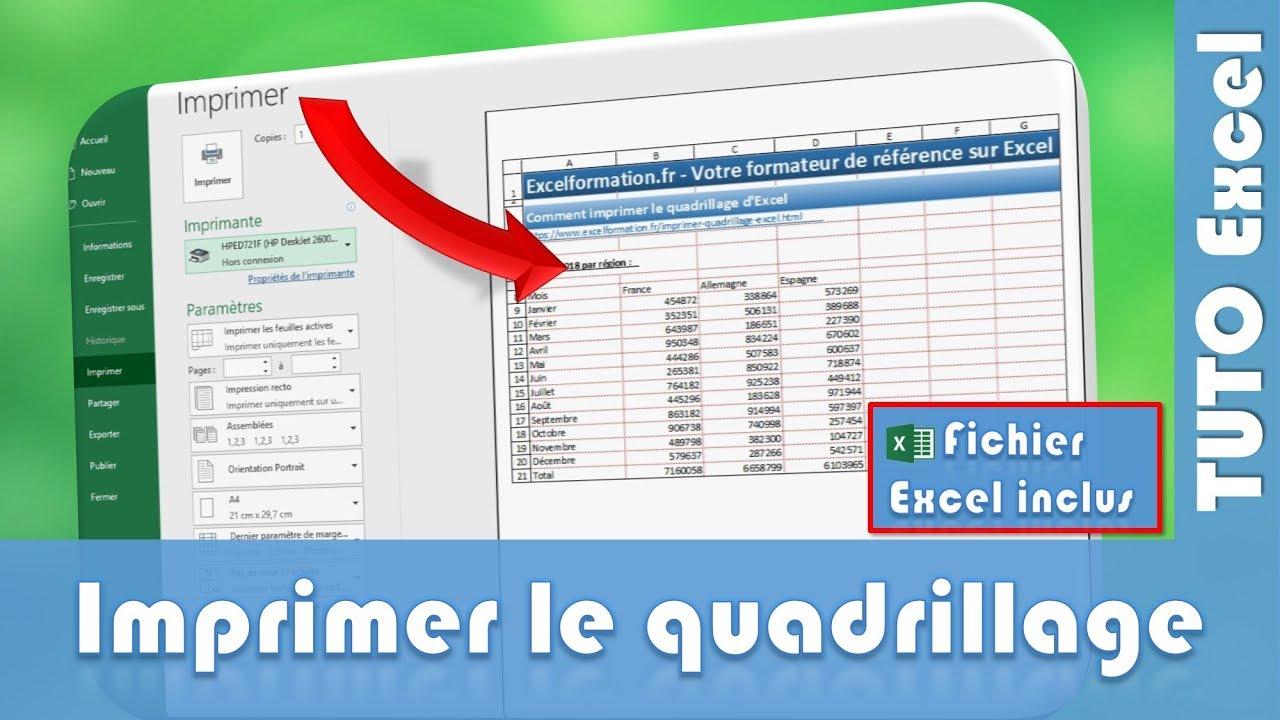 Comment Imprimer Le Quadrillage D'excel - Excel Formation destiné Quadrillage À Imprimer