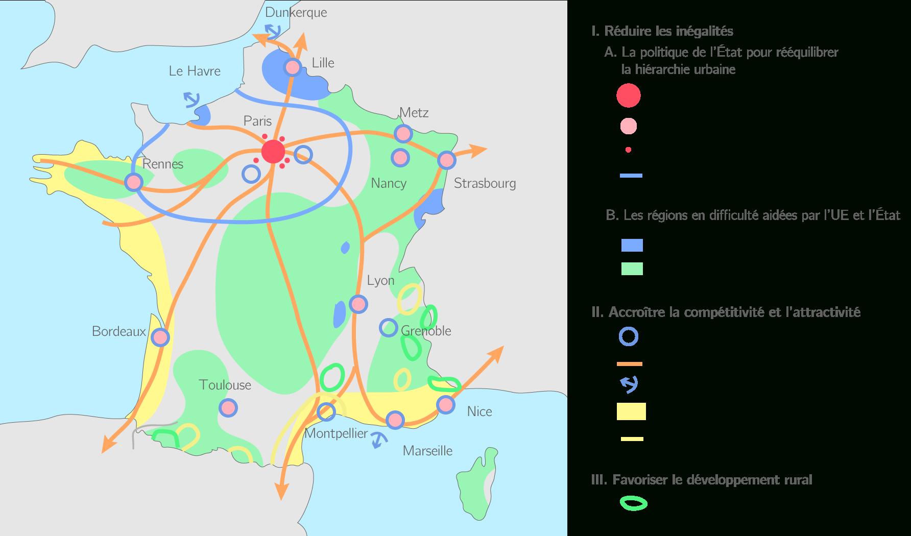 Compléter La Carte De L'aménagement En France - 3E encequiconcerne Carte De France A Remplir