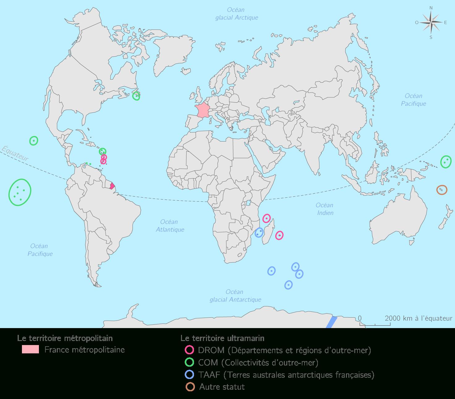 Compléter La Carte Des Territoires Ultramarins Français - 3E serapportantà Département D Outre Mer Carte