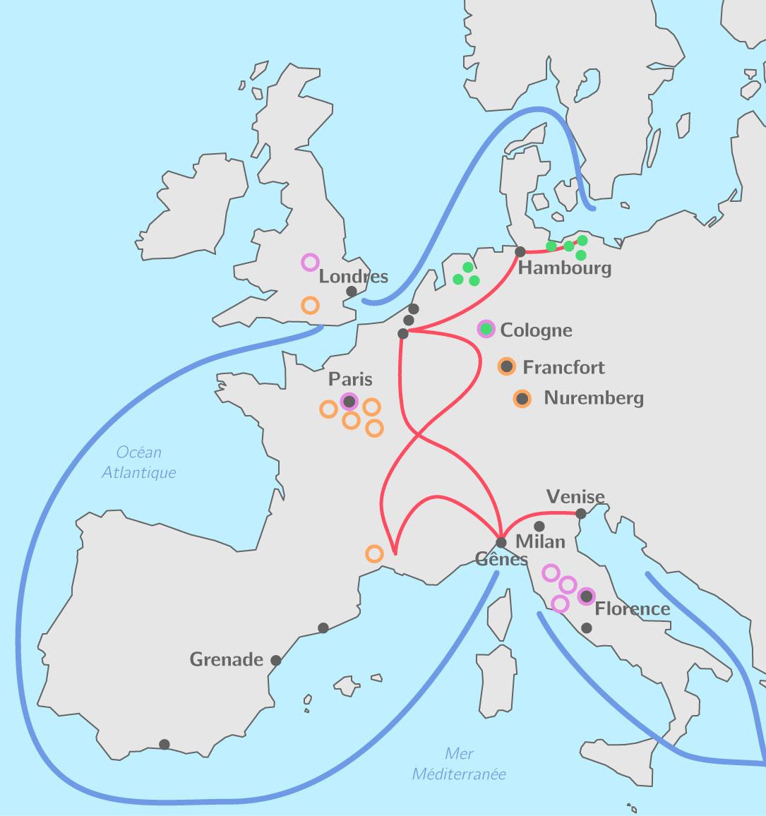Compléter La Carte Des Villes En Europe Au Xiiie Siècle - 5E pour Carte Europe Vierge À Compléter En Ligne