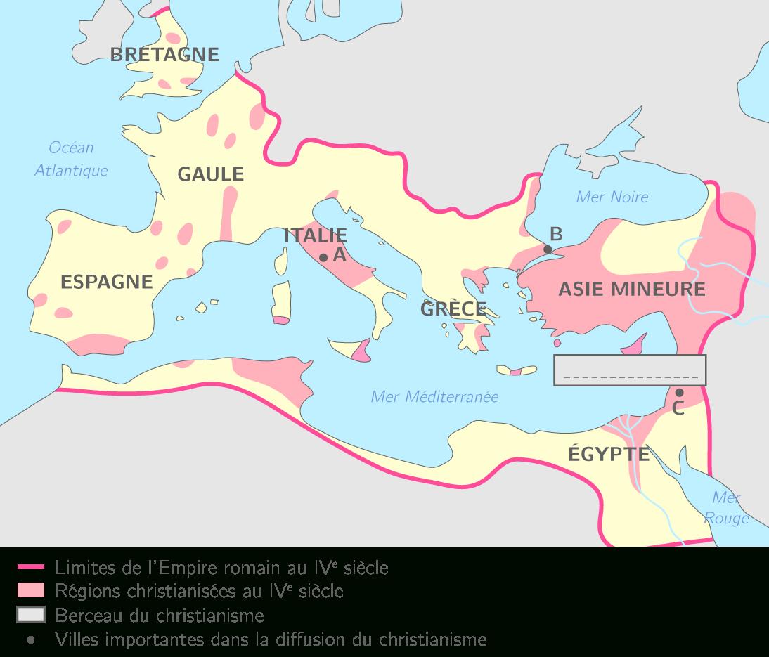 Compléter La Carte Du Christianisme Au Ive Siècle - 6E avec Carte Des Régions À Compléter