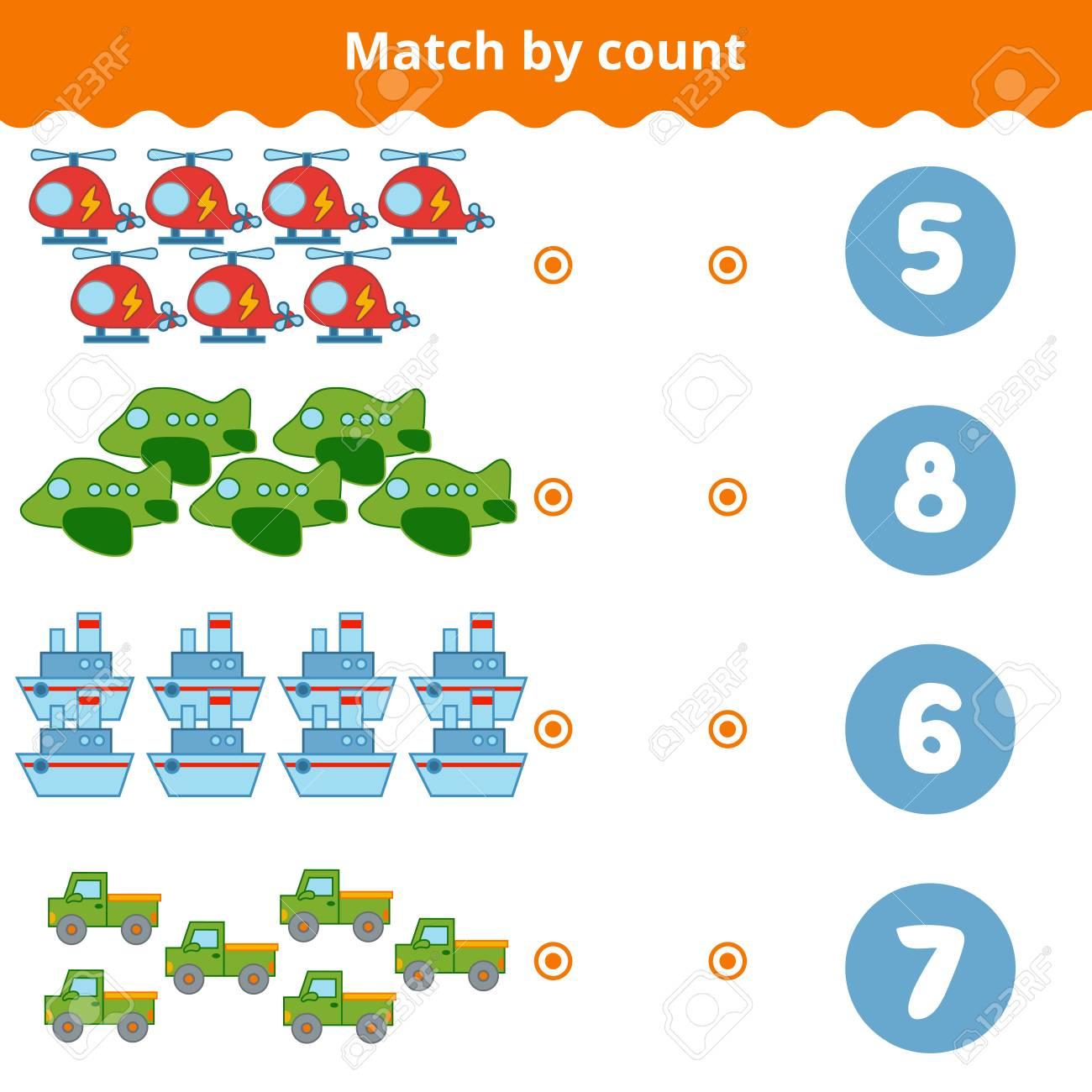 Compter Jeu Pour Enfants D'âge Préscolaire. Un Jeu Éducatif Mathématique. pour Jeux Enfant Educatif