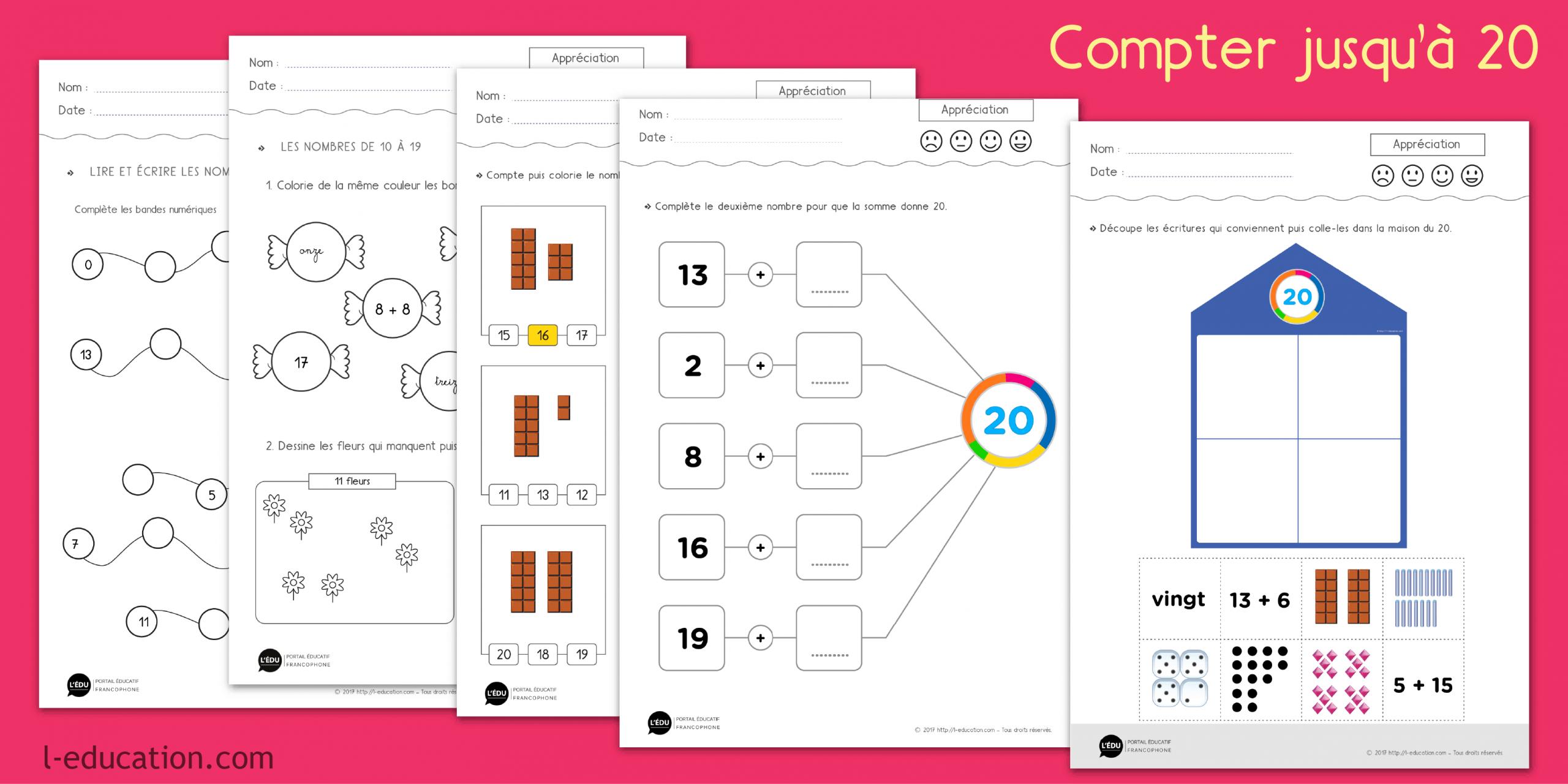 Compter Jusqu'à 20 – Exercices De Numération Cp Ce1 | Les intérieur Jeux Éducatifs En Ligne Cp