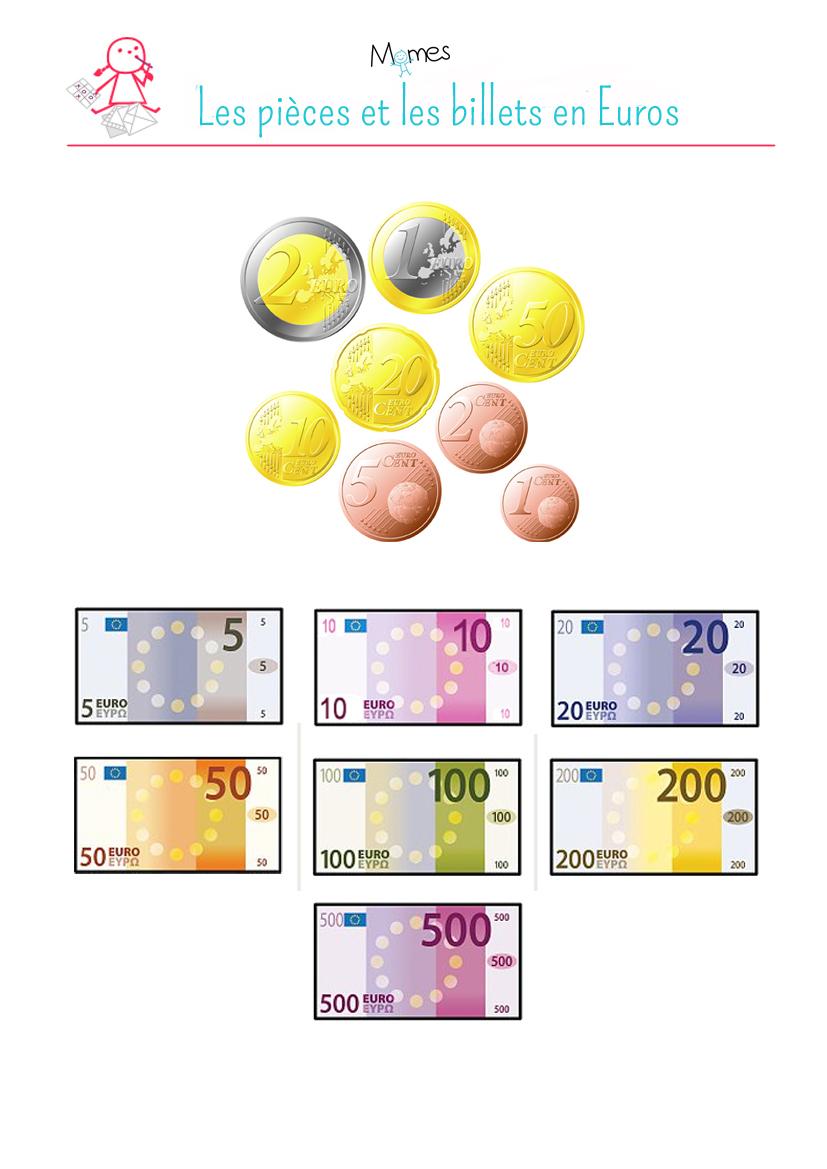 Compter Sa Monnaie En Euros - Momes tout Billet Euro A Imprimer